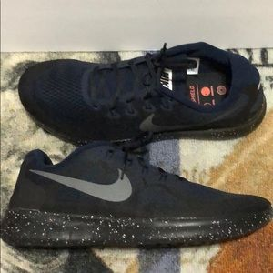 Nike Free Run 2017 Shield Black Navy Blue Sz 13